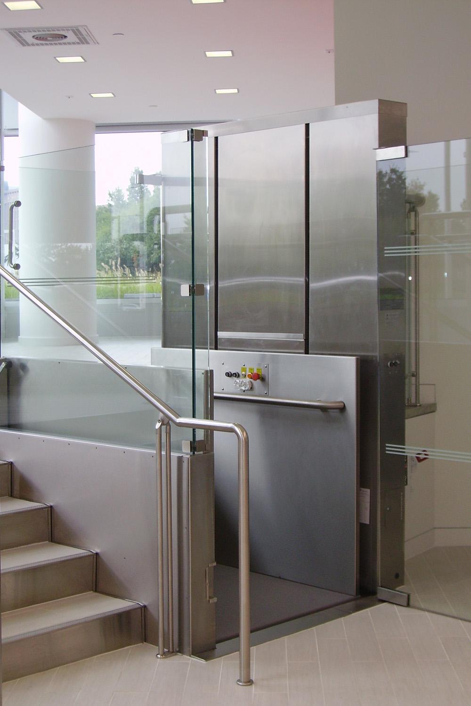 Vertical Wheelchair Lifts : Glass vertical wheelchair lift elevators nationwide lifts